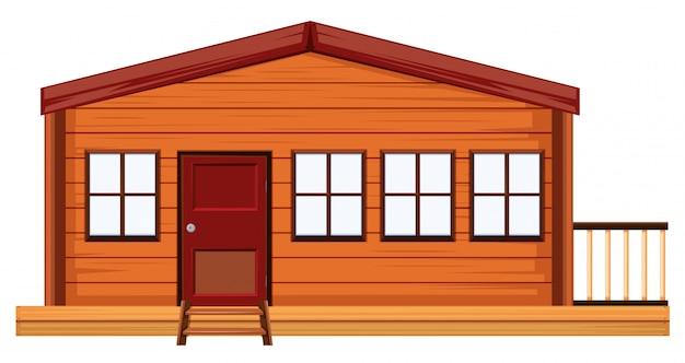 Een buitenkant van houten huis
