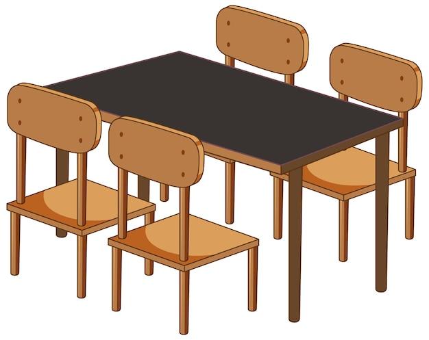 Een bureau met vier stoelen op wit wordt geïsoleerd