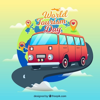 Een busreis, wereldtoerisme dag