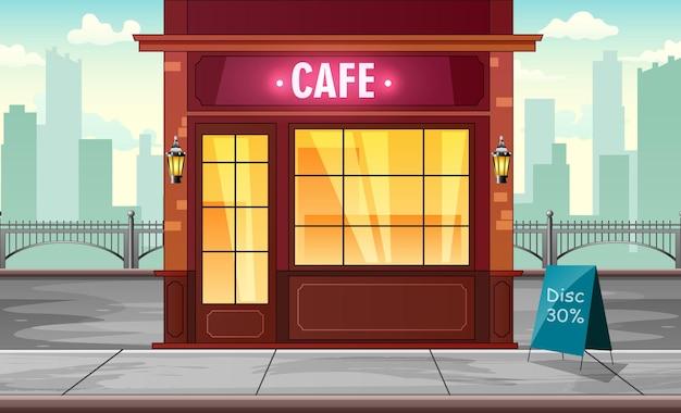 Een café bouwen op de achtergrond van een grote stad