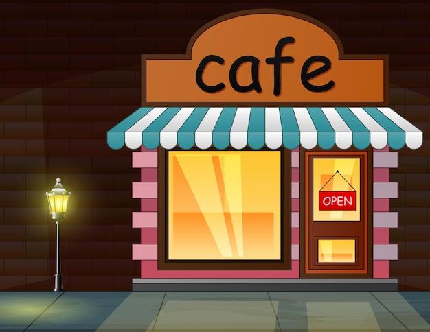 Een café in de nacht achtergrond afbeelding