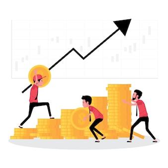 Een cartoon die bedrijfsgroei en teamwerk laat zien, mensen werken samen om geld te verhogen met een pijl omhoog