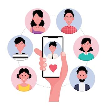 Een cartoon die laat zien dat mensen online vrienden vinden, bevat een man die een vdo-oproep doet