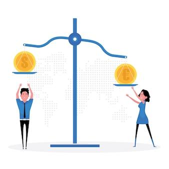 Een cartoon die verschillende wisselkoersen toont, toont twee mensen die naast een weegschaal met een muntstuk staan