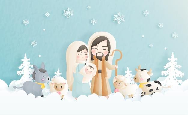 Een cartoon kerststal met baby jezus, maria en jozef en andere dieren. christelijke religieuze illustratie.