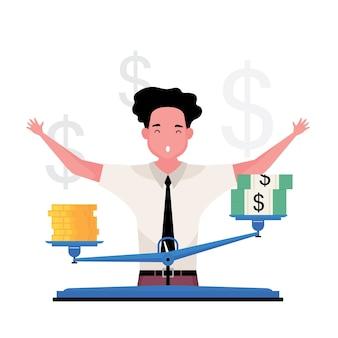 Een cartoon met een hoge goudwaarde laat een man zien tussen geld en goud met een schaal