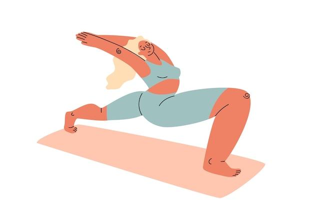 Een cartoon mollige vrouw in een trainingspak die zich uitstrekt op een gymnastiekmat