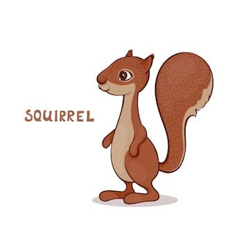 Een cartoon schattige eekhoorn