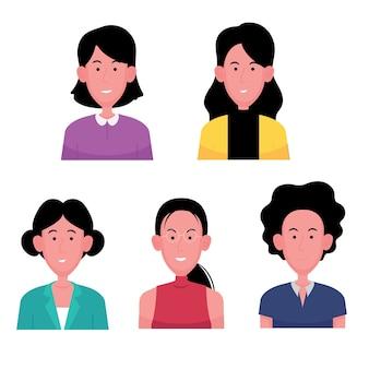 Een cartoon van tekenset van zakenvrouw