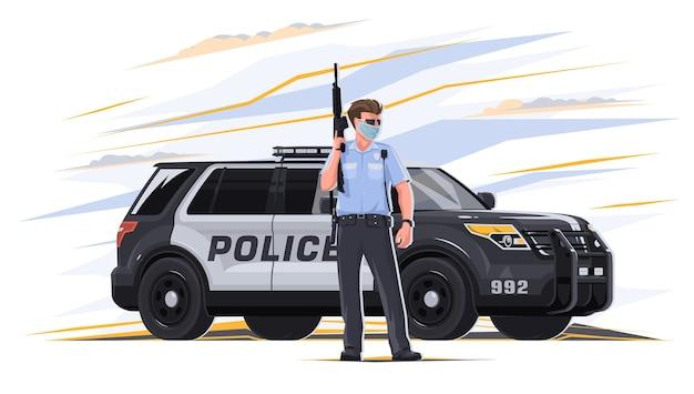 Een cartoonafbeelding van een politieagent in een politie-uniform met een wapen in zijn handen met een auto op de achtergrond