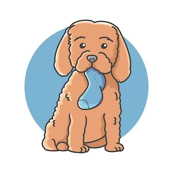 Een cartoonhond met een sok daarin is mond.
