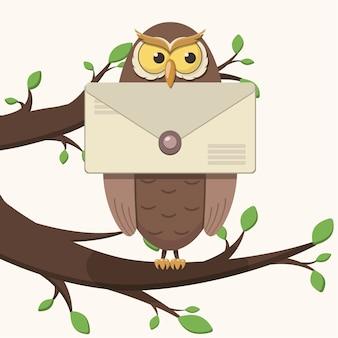 Een cartoonuil zit op een tak met bladeren, houdt een verzegelde brief in zijn bek.