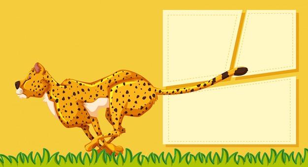 Een cheetah op lege notitie