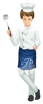 Een chef-kok die een keukengerei houdt
