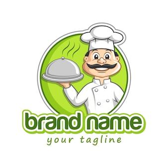 Een chef-kok serveert eten op een dienblad restaurant mascotte logo sjabloon