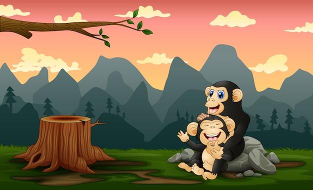 Een chimpansee met haar welp in een kaal bos