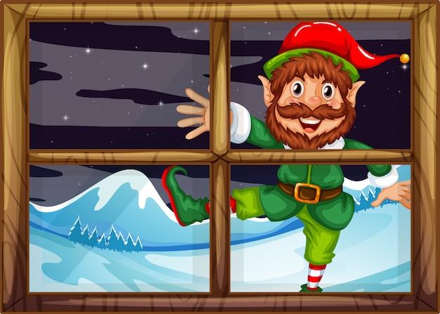 Een christmad elf buiten raam