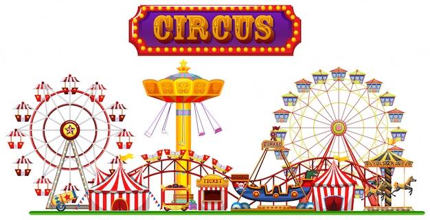 Een circuspretbeurs op witte achtergrond