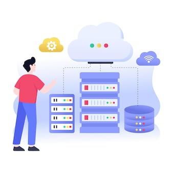 Een cloud datacenter vlakke afbeelding vector download