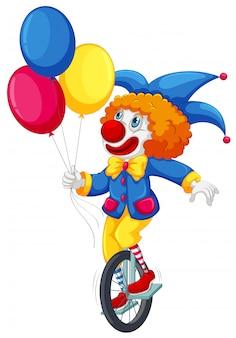 Een clown die op een eenwieler rijdt
