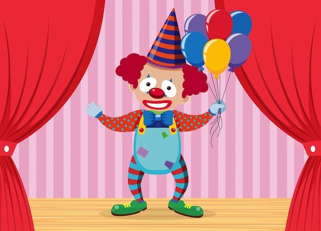 Een clown op het podium