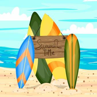 Een collectie met surfplanken. cartoon stijl.