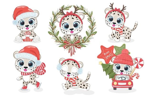 Een collectie van 6 schattige luipaarden voor nieuwjaar en kerstmis. vectorillustratie uit een tekenfilm.