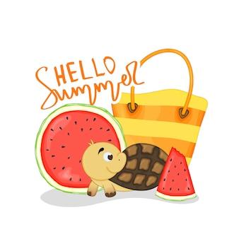 Een collectie zomerse items. cartoon-stijl. vector illustratie.