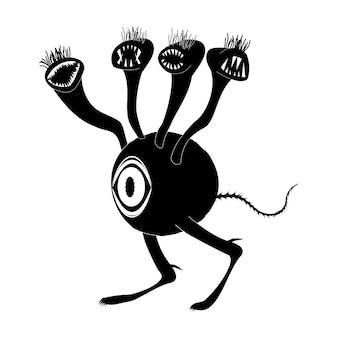 Een concept van een buitenaards wezen met één groot oog en veel toothy hoofden. critter loopt op twee benen. silhouet afbeelding. geïsoleerde vector op een witte achtergrond.