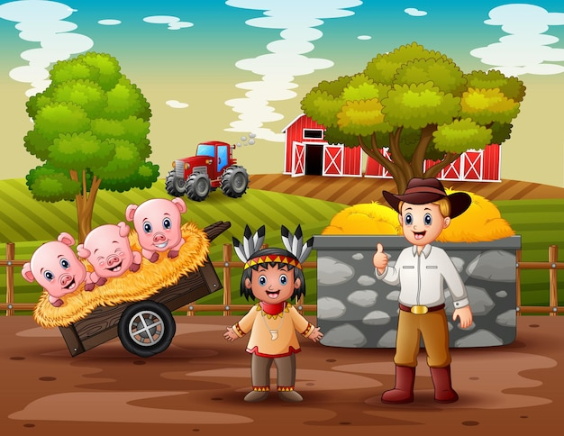 Een cowboy en een amerikaanse indische jongen in de boerderij