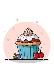 Een cupcake met roze room en kersen en bosbessen