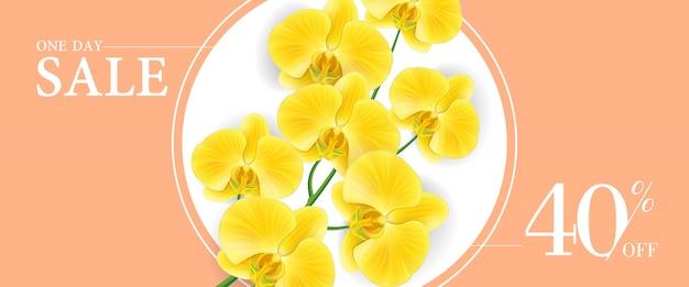 Een dag te koop, veertig procent korting banner met gele bloemen in ronde frame