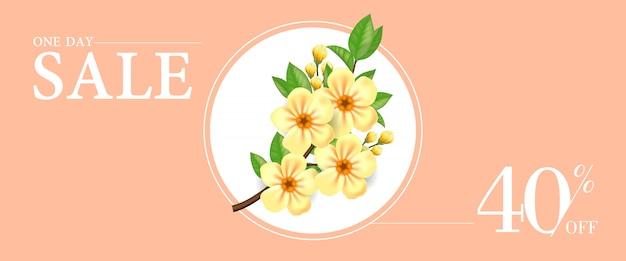 Een dag verkoop veertig procent korting banner met gele bloeiende takje in ronde frame