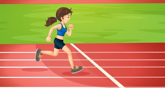 Een dame aan het rennen