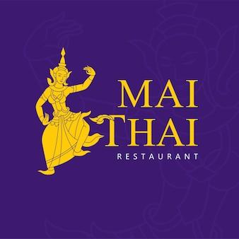 Een dame die thaise traditionele kleding draagt, logo-ontwerp. vector