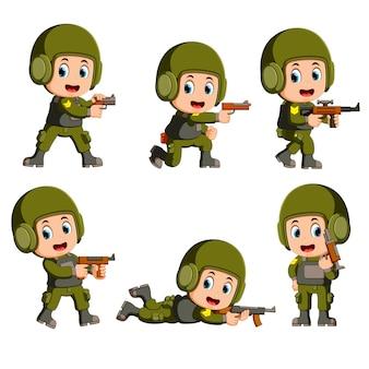 Een dappere soldaat met een pistool