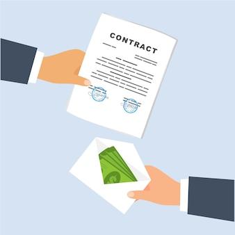 Een deal maken. geld overmaken in een envelop per contract.
