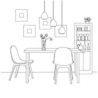 Een deel van de eetkamer. op de tafel vaas met bloemen. lampen hangen boven de tafel. hand getrokken schets. illustratie.