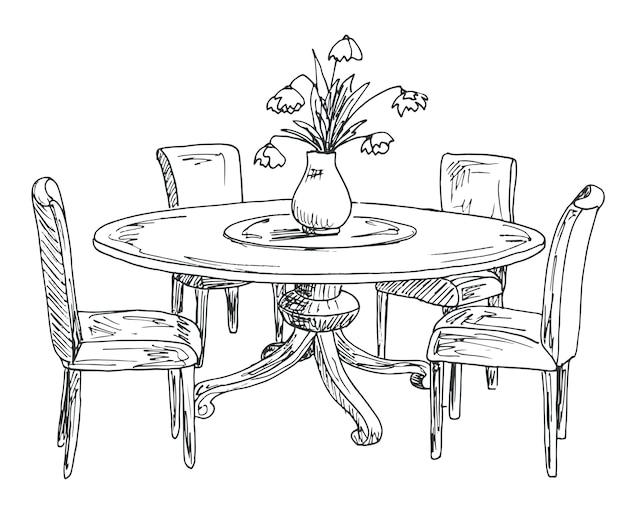 Een deel van de eetkamer. ronde tafel en stoelen. op de tafel vaas met bloemen. hand getrokken schets.vector illustratie.