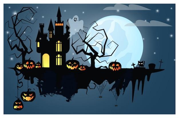 Een deel van de grond met halloween-karakters illustratie