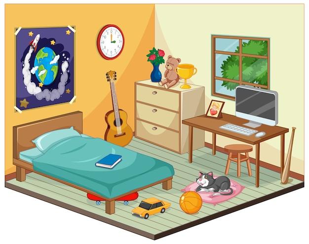 Een deel van de slaapkamer van de kinderenscène in cartoonstijl