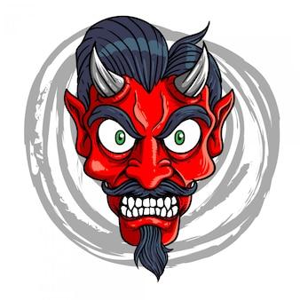 Een demon met uitpuilende ogen illustratie