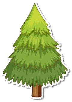 Een dennenboom cartoon sticker