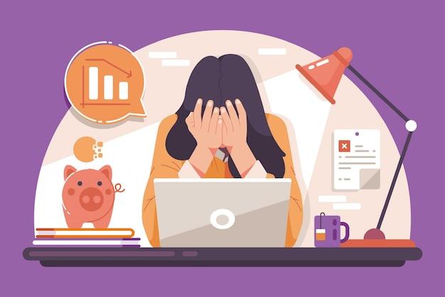 Een depressieve vrouw als gevolg van een faillissement veroorzaakt door een uitbraak van het coronavirus