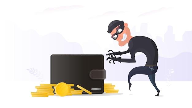 Een dief die een creditcard in portefeuille steelt. een crimineel steelt een mannenportemonnee. het concept van fraude, fraude en fraude met geld. vector.