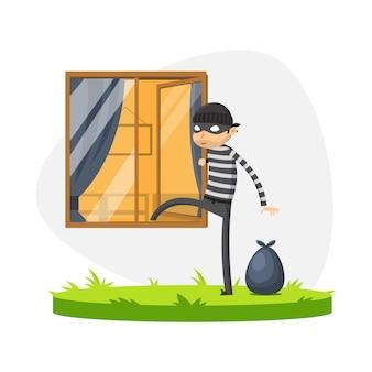 Een dief loopt door het raam. geïsoleerde vectorillustratie