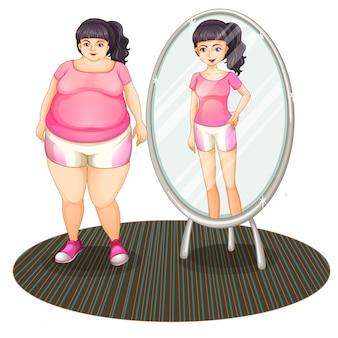 Een dik meisje en haar slanke versie in de spiegel