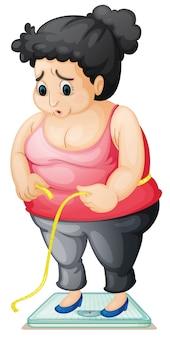 Een dikke dame die gewicht controleert