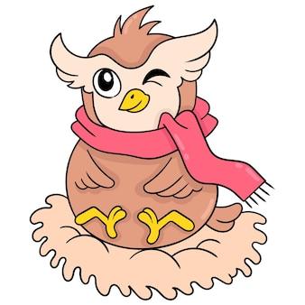 Een dikke uil die een sjaal draagt zit in zijn nest, vectorillustratieart. doodle pictogram afbeelding kawaii.