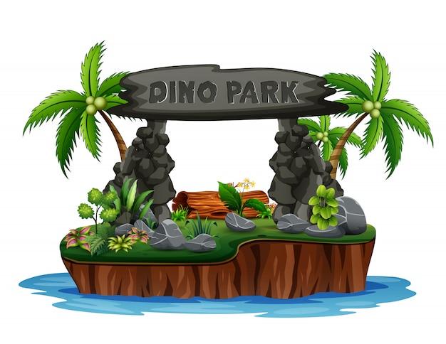Een dino-park op het eiland